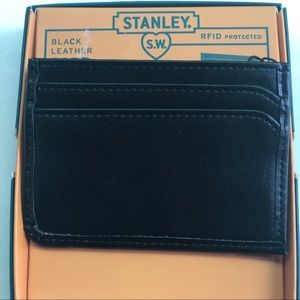 Stanley Black Leather Credit Card Holder Wallet